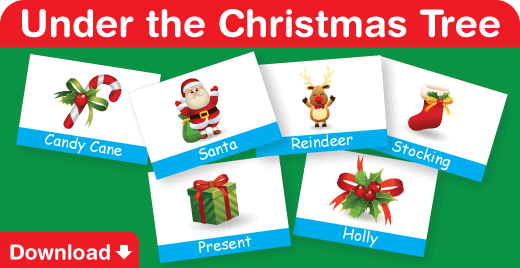 Download flash cards for our video, Under the Christmas Tree
