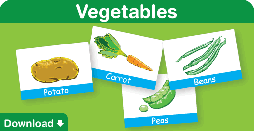 click to download our free vegetables flash cards - Kids Images Free