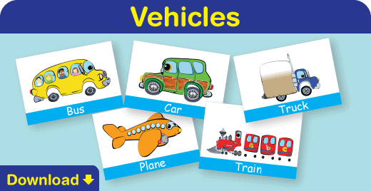 Click to download our free vehicles flash cards!