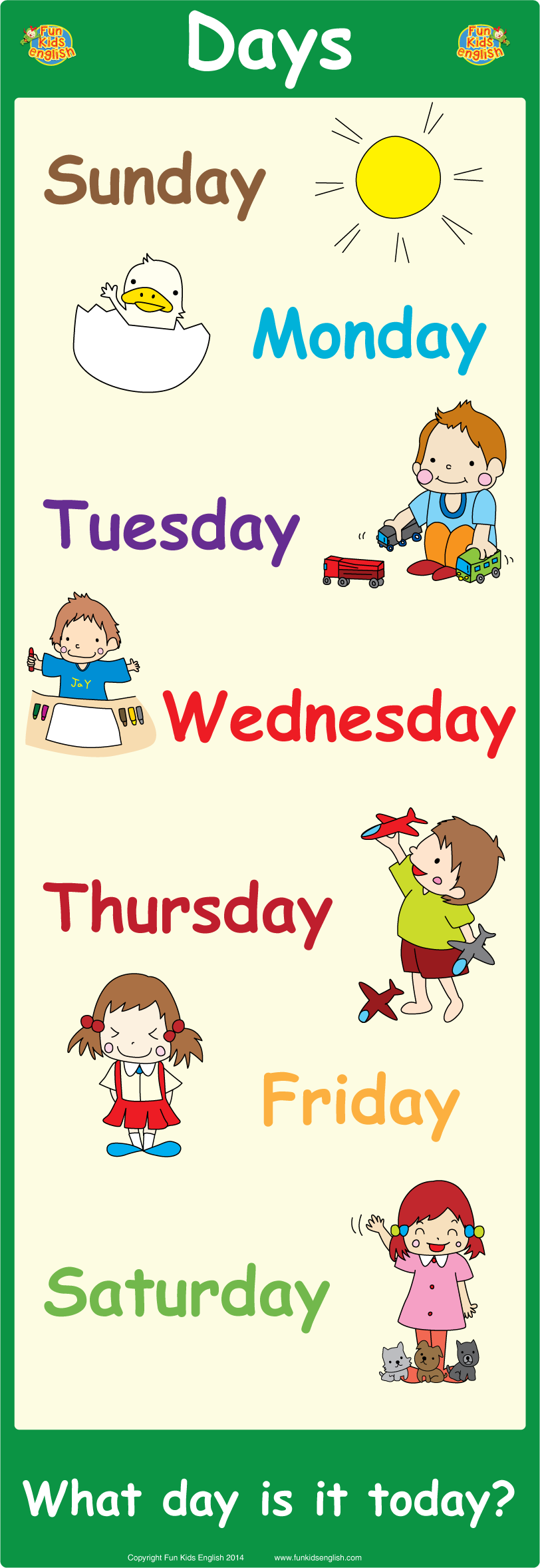photograph about Printable Days of the Week Chart referred to as Free of charge Wall Posters: Childrens New music, Childrens Phonics