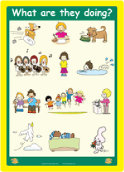 Verbs & Plurals: 'What Are They Doing?' Wall Poster